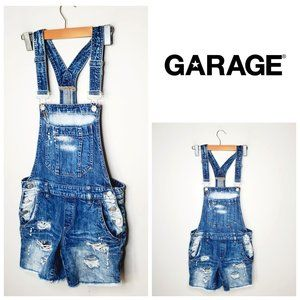 Garage Blue Distressed Denim 90's Overall Shorts